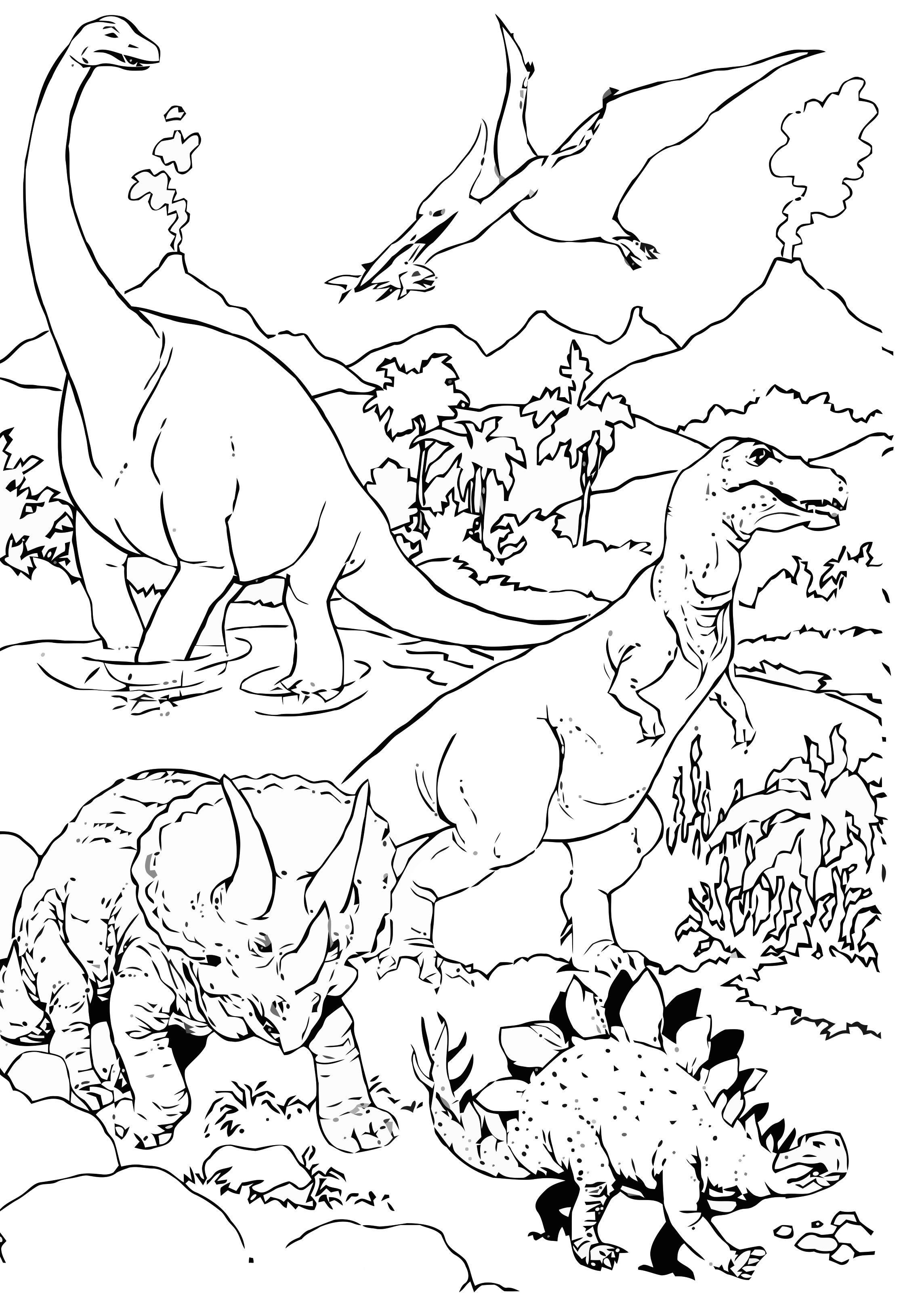 Malvorlage Dinosaurier in der Landschaft - Kostenlose Ausmalbilder