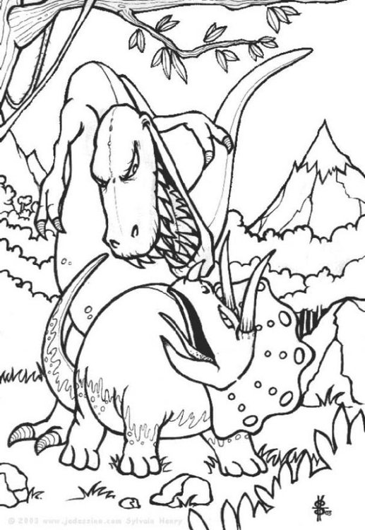 Malvorlage Dinosaurier Kampf | Ausmalbild 6443.