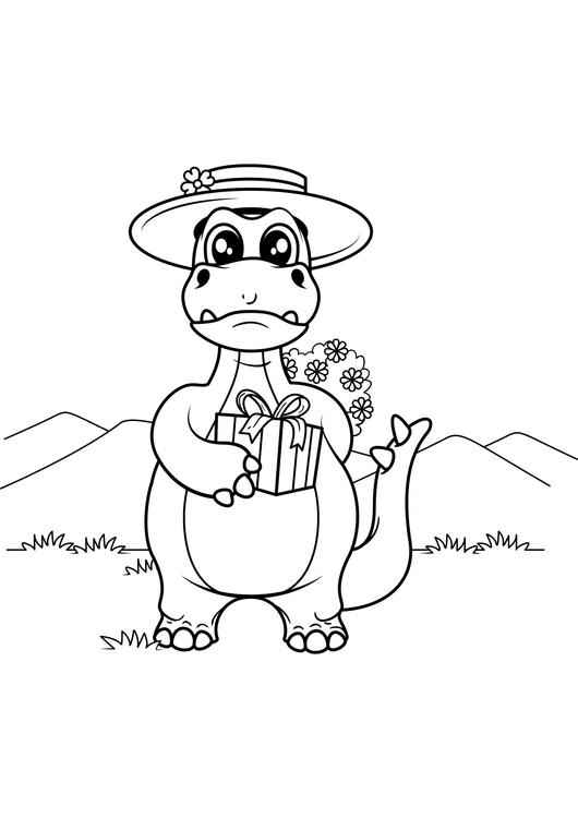 malvorlage dinosaurier mit geschenk  kostenlose