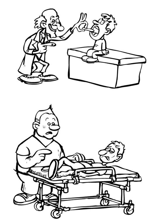 Malvorlage Doktor und Pfleger | Ausmalbild 10390.