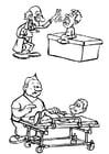 Malvorlage  Doktor und Pfleger