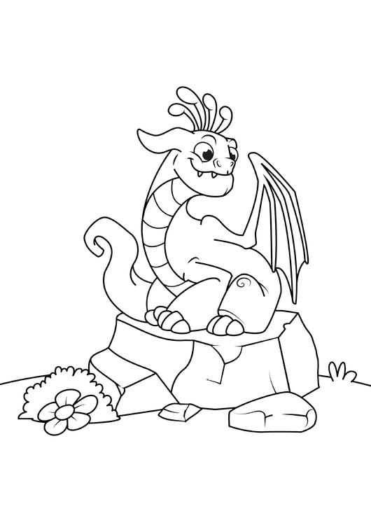 malvorlage drache auf stein  kostenlose ausmalbilder zum