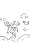 Malvorlage  Drache fliegt mit Vogel