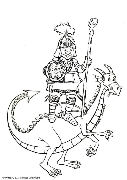 Malvorlage Drachenritter | Ausmalbild 11036.