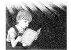 Malvorlage  ein Buch lesen