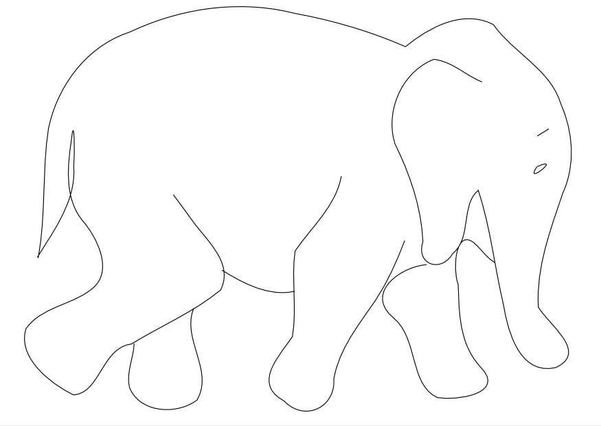 Malvorlage Elefant   Ausmalbild 9962.