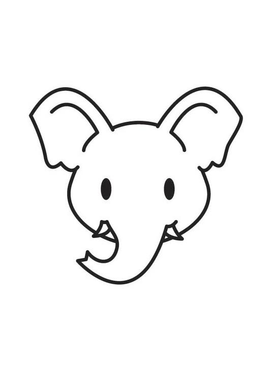 Malvorlage Elefantenkopf   Ausmalbild 17801.