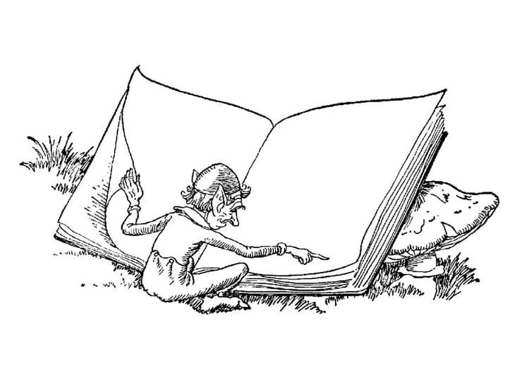 malvorlage elfe mit buch  kostenlose ausmalbilder zum