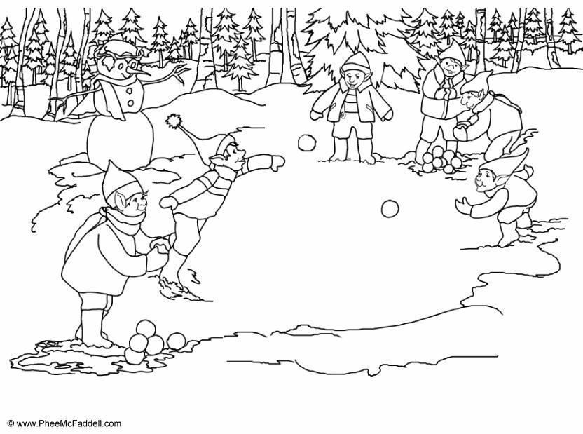 Malvorlage Elfen Schneeb 228 Lle Werfen Ausmalbild 6905