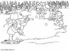 Malvorlage  Elfen - Schneebälle werfen