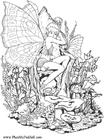 Malvorlage  Elfenmädchen im Wald