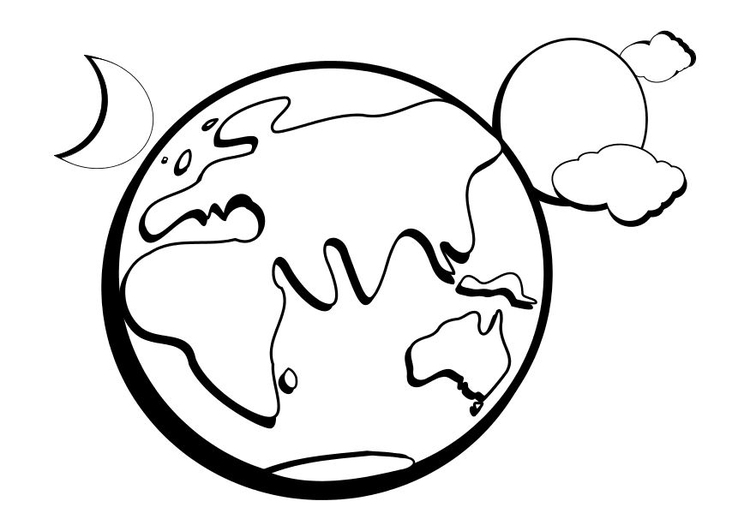 Malvorlage Erde | Ausmalbild 14337.