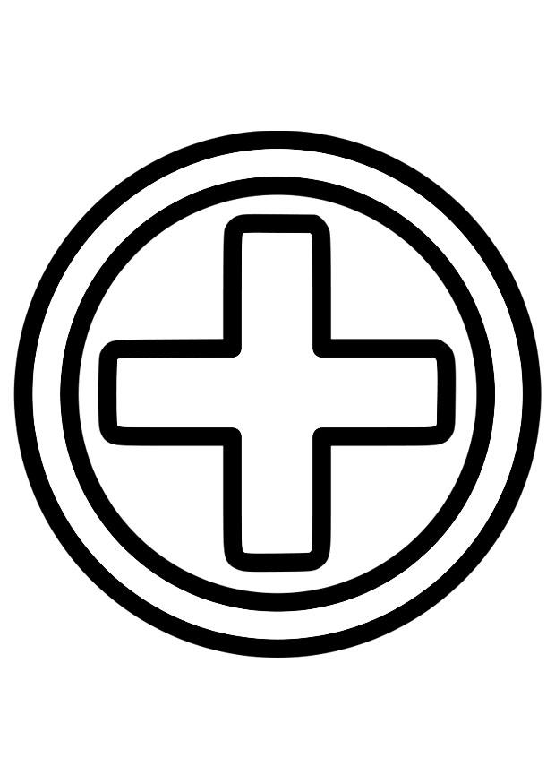 Erste hilfe symbol  Malvorlage Erste Hilfe Symbol | Ausmalbild 28223.