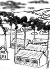 Malvorlage  Fabrike - Luftverschmutzung
