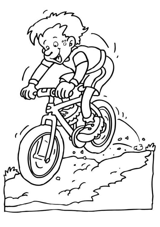 Malvorlage Fahren auf dem Mountainbike   Ausmalbild 6592.