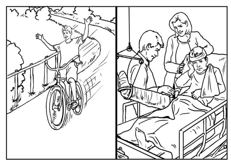 Malvorlage Fahrrad fahren - Sicherheit   Ausmalbild 10423.