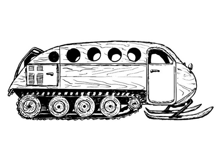 Malvorlage Fahrzeug für eine Schneelandschaft | Ausmalbild 18936.