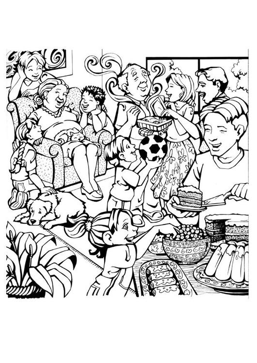 Malvorlage Familie | Ausmalbild 7087.