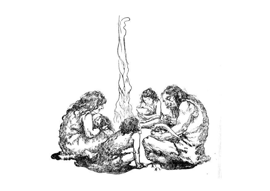 Malvorlage Familie in der Steinzeit | Ausmalbild 9756.
