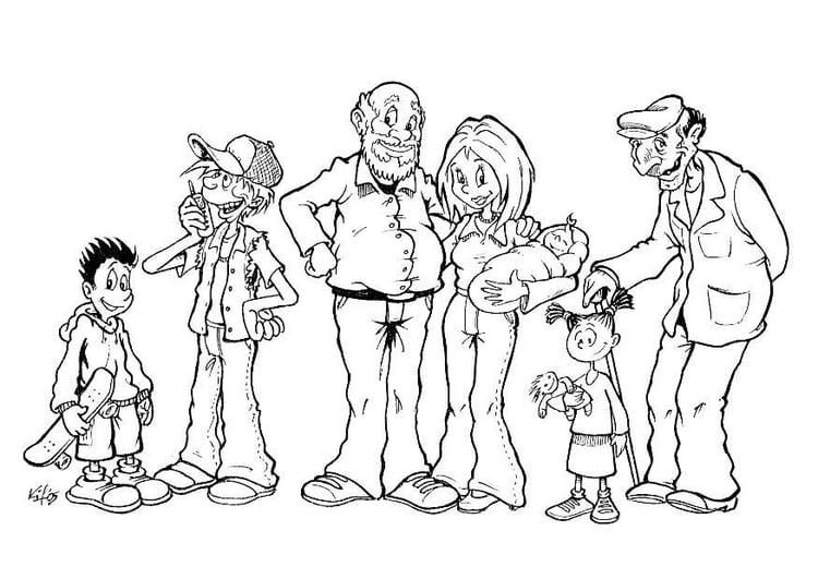 Malvorlage Familie verschiedene Altersgruppen | Ausmalbild 8729.