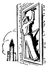 Malvorlage  Fensterputzer