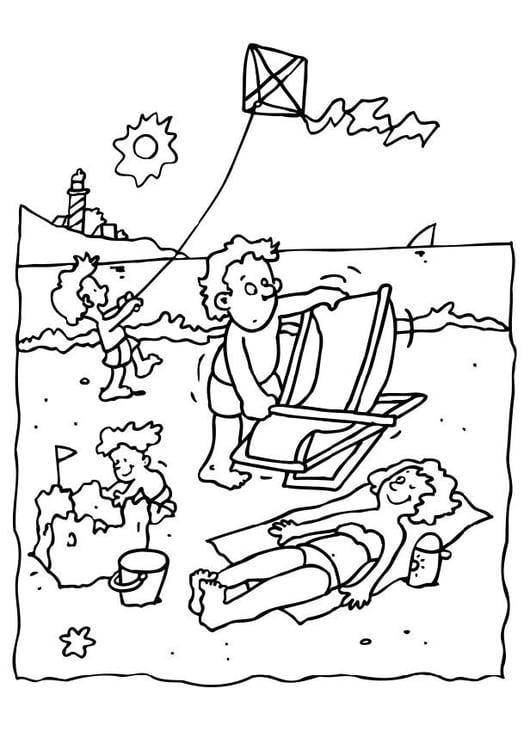 Malvorlage Ferien am Strand | Ausmalbild 8069.