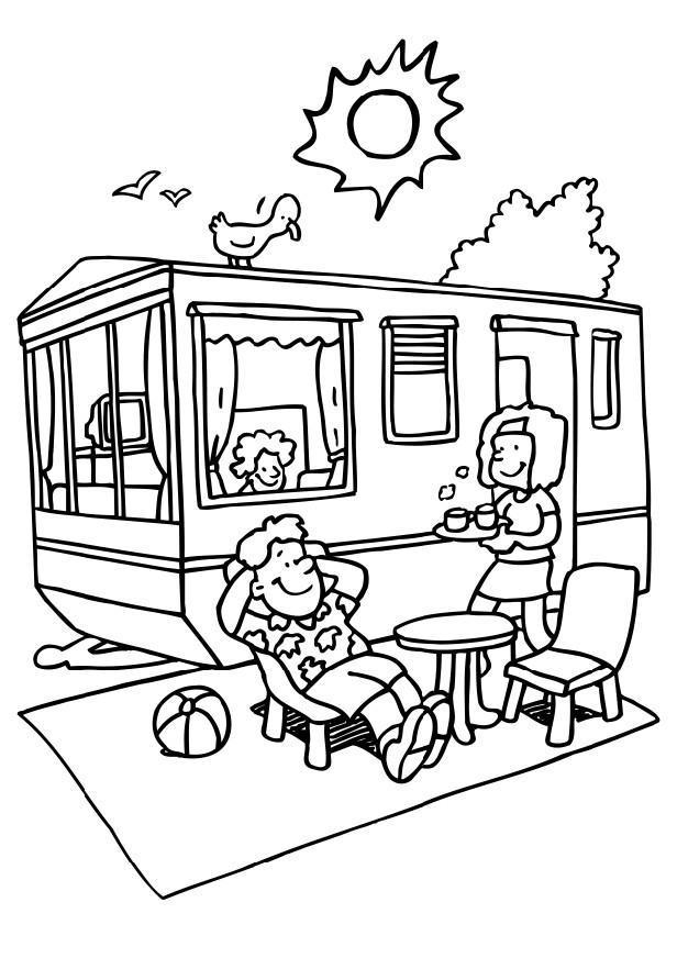 Malvorlage Ferien auf dem Campingplatz | Ausmalbild 8068.