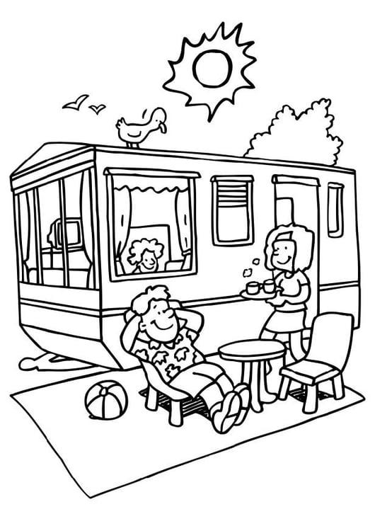 Malvorlage Ferien auf dem Campingplatz | Ausmalbild 6598.