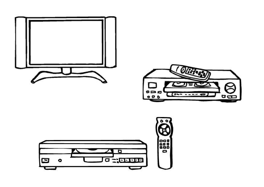 malvorlage fernseher videoplayer dvdplayer  kostenlose