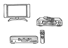 Malvorlage  Fernseher, Videoplayer, DVD-Player