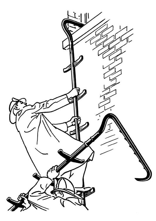 Malvorlage Feuerwehrmann Mit Leiter Ausmalbild 18912