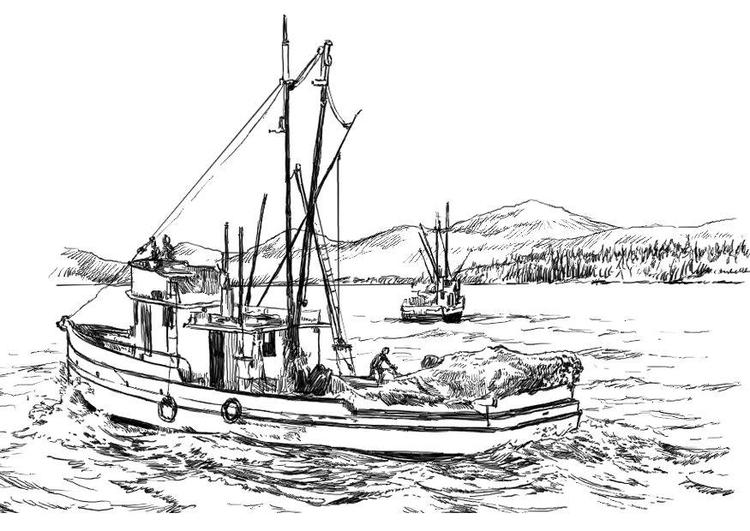 Malvorlage Fischerboot | Ausmalbild 8059.
