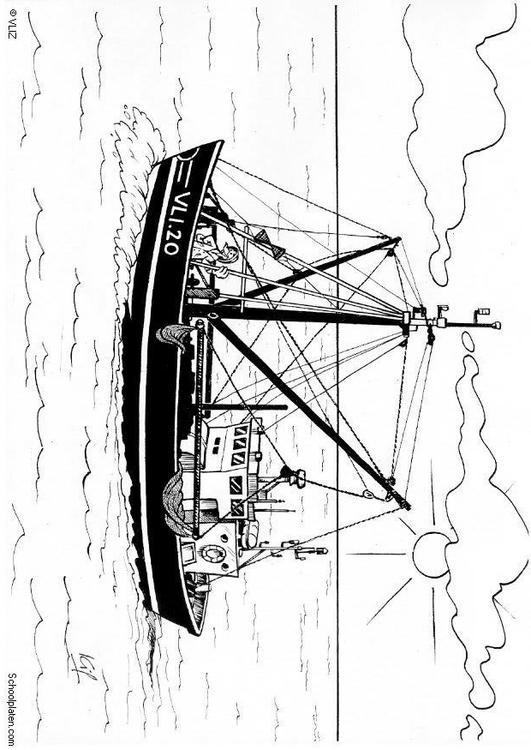 Malvorlage Fischerboot | Ausmalbild 5456.