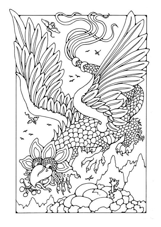 Malvorlage fliegender Drache | Ausmalbild 25651.
