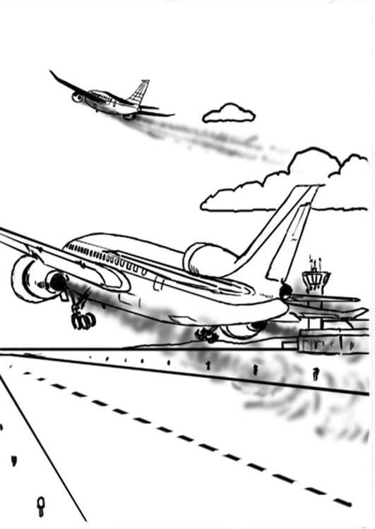 ausmalbild flugzeug zeichnung  cartoonbild