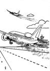 Malvorlage  Flugzeug - Luftverschmutzung