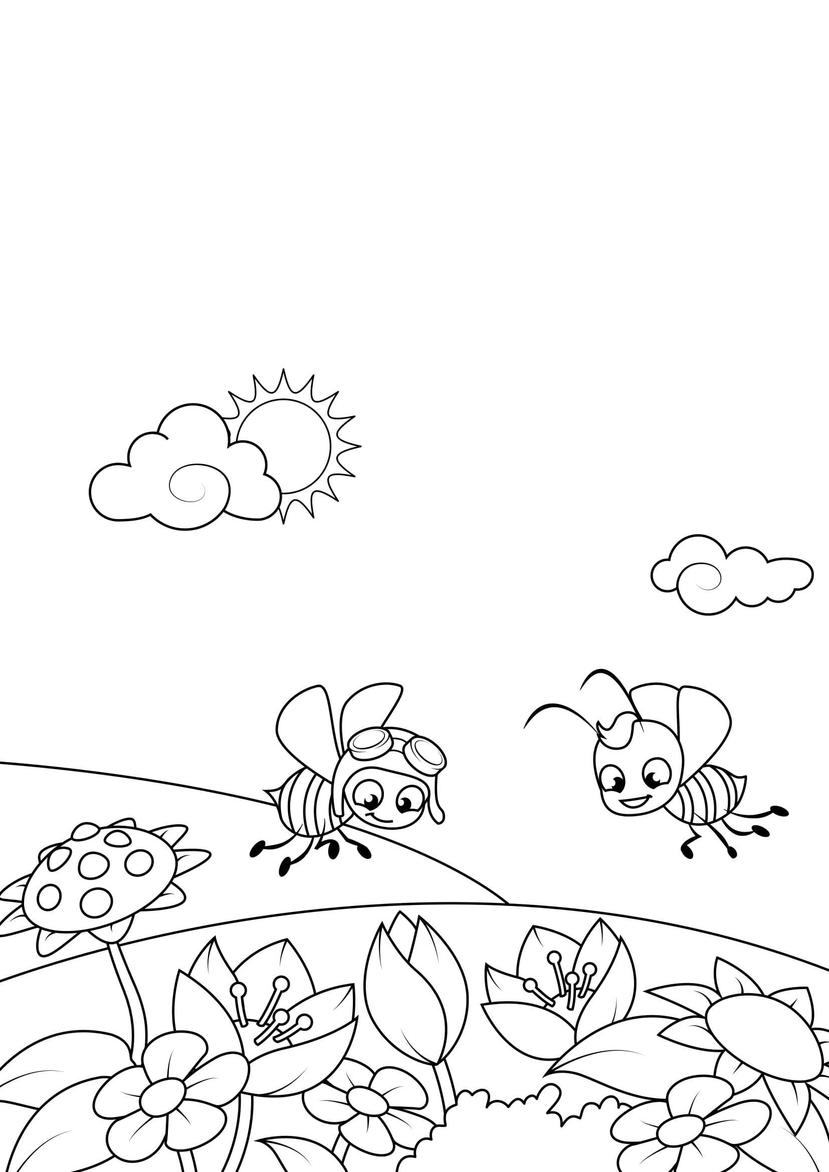 malvorlage frühling bienen im garten  kostenlose