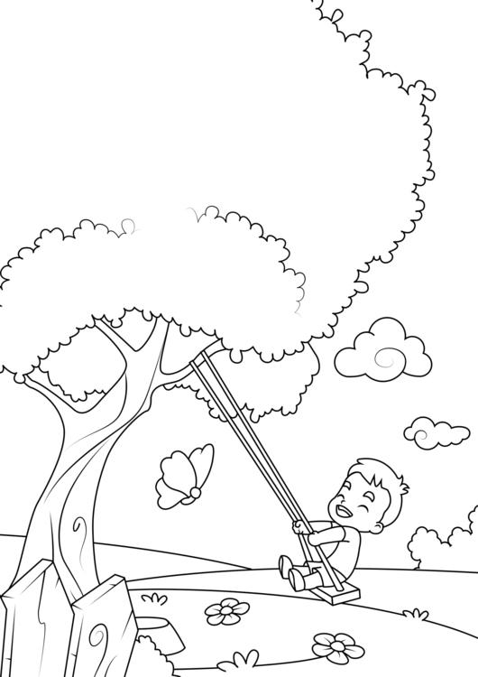 malvorlage frühling schaukelbaum  kostenlose
