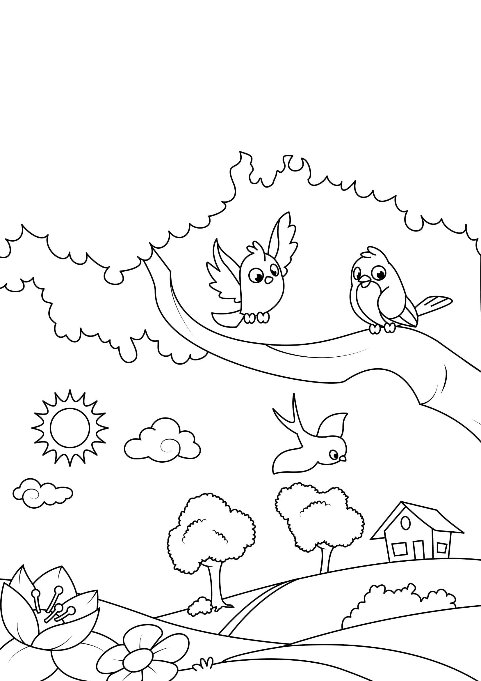 malvorlage frühling vögel im garten  kostenlose