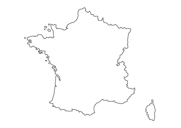 Malvorlage Frankreichkarte | Ausmalbild 10111.