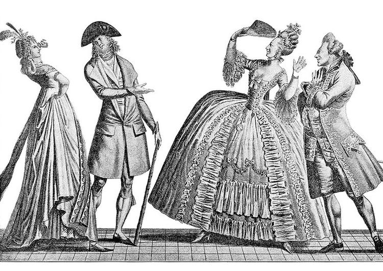 Malvorlage französische Mode 18. Jahrhundert   Ausmalbild 9751.