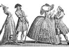 Malvorlage  französische Mode 18. Jahrhundert