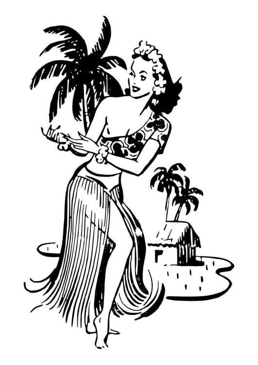 Malvorlage Frau aus Hawaii | Ausmalbild 27889.
