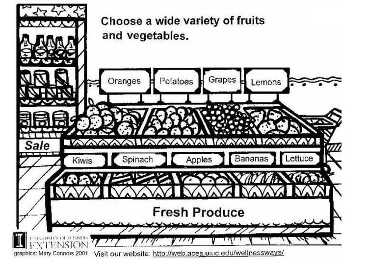 malvorlage frisches obst und gemüse  kostenlose