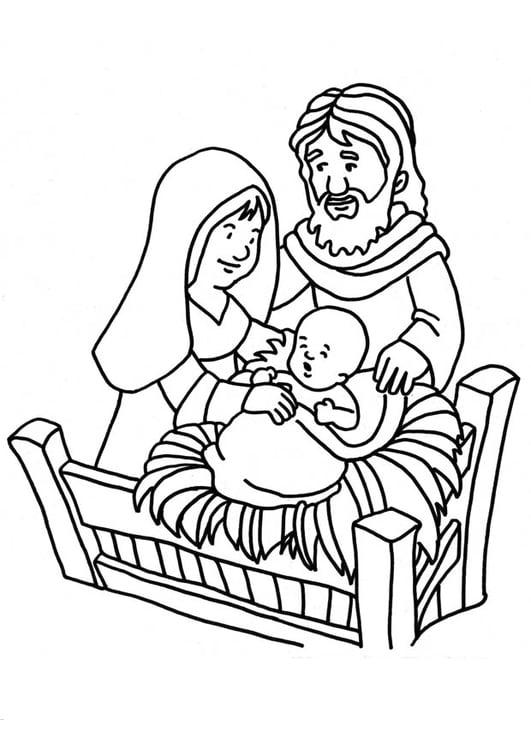 Malvorlage Geburt Jesus   Ausmalbild 18661.