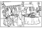 Malvorlage  Geburtstagsfeier