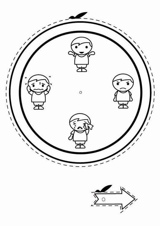 Malvorlage Gefühlsuhr - Jungen | Ausmalbild 24796.