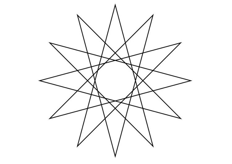 Malvorlage geometrische Figur - Stern | Ausmalbild 19330.