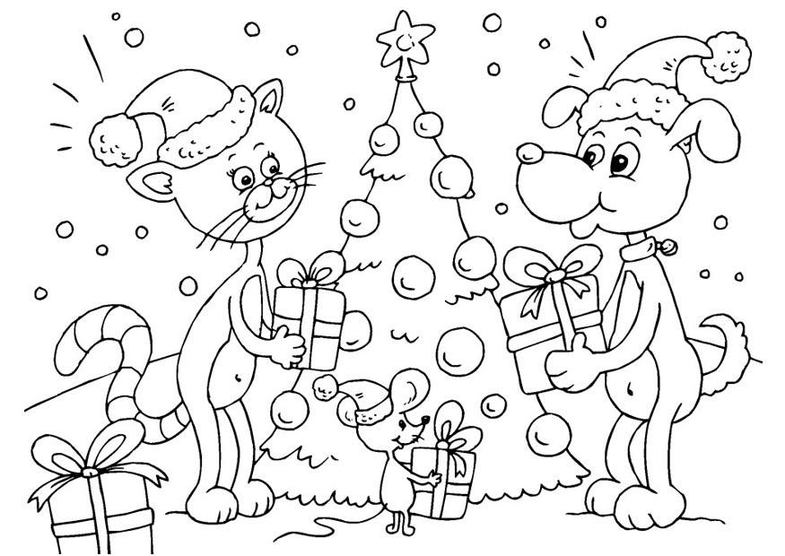 Malvorlage Geschenke unter dem Weihnachtsbaum   Ausmalbild 23373.