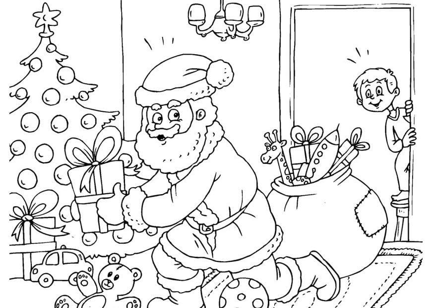 Malvorlage Geschenke unter dem Weihnachtsbaum   Ausmalbild 23387.